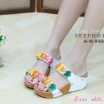รองเท้าสวย งานบรนด์ดัง fitflop พื้นนิ่มงานขายดี รองเท้าสวม ด้านหน้าแต่งดอกไม้