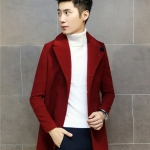 พร้อมส่ง โค้ทผู้ชาย ตัวยาว สีแดง คอปก มีซับใน ใส่ไปเที่ยวต่างประเทศ อุ่นแน่นอน เท่ห์