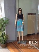 V Drape Dress L (Turquoise)