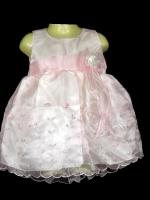 ชุดเดรสเด็กเล็กแขนกุดสีชมพู ผ้าไหมแก้วปักลาย