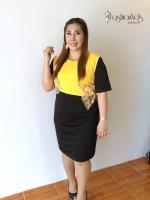 เดรสทรงตรง ต่อผ้าพื้นสีเหลือง Yellow Block Dress