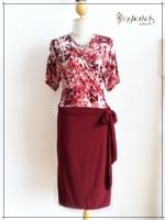 Love Dress Size 44 สีแดงเลือดหมู
