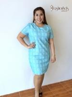เดรสทรงตรงสีฟ้า เนื้อผ้าสไตล์เก๋ Blue Pencil Dress