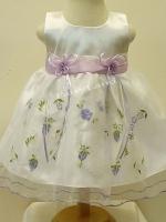ชุดเดรสเด็กหญิงออกงานสีขาวแขนกุดปักลายสีม่วงสำหรับเด็ก6-24เดือน