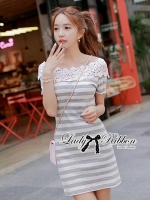 Lady Cherline Smart Casual Striped Lace Dress
