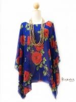Handkerchief Chiffon Blouse Free Size สีน้ำเงินกุหลาบแดง