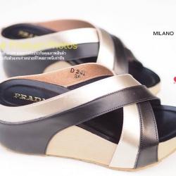 รองเท้าส้นเตารีด PRADA Wedged Slide สายไขว้หนัง PVC สวมสบายเท้า