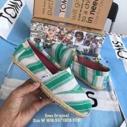 รองเท้า toms สีเขียวขาวลายทาง พื้นนิ่มมากแต่งเชือกปอรอบส้นรองเท้า งานเกรดพรีเมี่ยม