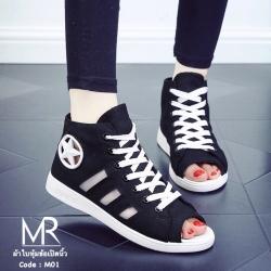 รองเท้าสไตล์ converse หุ้มข้อ ผ้าดี งานนิ่ม ข้างๆเป็นซีทรู ระบายอากาส