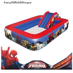 สระน้ำเป่าลม พร้อมสไลเดอร์ Spider man ขนาด 56x152x229 ซม.