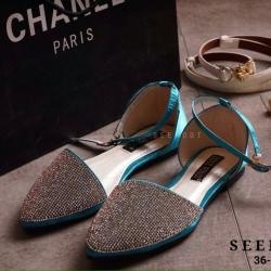 รองเท้าสวย CHANEL STYLE คัชชูรัดข้อ เปิดข้างวัสดุผ้าซาตินนิ่ม
