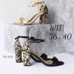 รองเท้าส้นสูงสวยมากส้นปักลายดอกไม้งานไม่ซ้ำใครใส่ออกงาน ใส่เที่ยวสบาย
