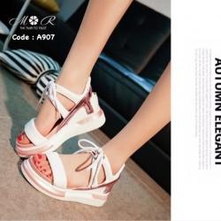 รองเท้าแฟชั่นเกาหลีเสริมส้นสูงทรงสวมรัดข้อด้านหลังปิดส้นพื้นบุนิ่มมาก