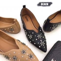 รองเท้าแฟชั่นคัทชูส้นเตี้ยประดับเพชรรูปดอกไม้