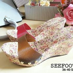 รองเท้าแบบสวม ส้นเตารีด พื้นไม้ก๊อกแต่งลายดอกไม้แนววินเทจสวยหวาน