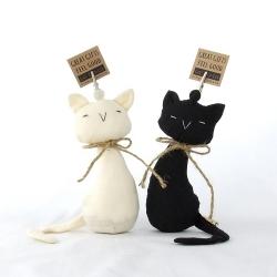 ตุ๊กตาที่ทับกระดาษ หนีบกระดาษ แมวคู่รัก สีขาว