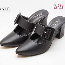 รองเท้าคัทชูเปิดส้นคาดเข็มขัดสวยงาม