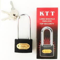 กุญแจดำ 38 มิล คอยาว +ลูกกุญแจ 3 ลูก(1x6)
