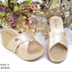 รองเท้าส้นเตารีดแบบสวมหนัง PU น้ำหนักเบาแต่งสายไขว้ติด logo ลาครอส น้ำหนักเบา