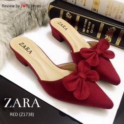 รองเท้า STYLE ZARA ทำจากผ้าสักหลาดพื้นตีแบรนด์ zara