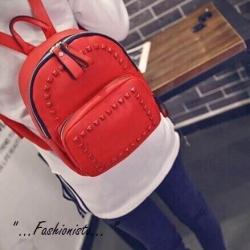 backpack กระเป๋าสะพายรุ่นตอกหมุดสไตล์แบรนด์วัสดุคุณภาพหนัง pu