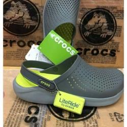 รองเท้า CROCS รุ่น LiteRide สีเทาพื้นเหลือง