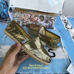 รองเท้า Toms สีทองแวววาวสวยมาก ๆ ส้นรองเท้าพันเชือกปอ งานเกรดพรีเมี่ยม