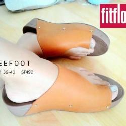 รองเท้าสไตล์ Fitflob สายหนังนิ่ม เปิดข้าง แบบคีบ ใส่สบาย