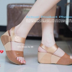 รองเท้าส้นเตารีด LACOSTE Wedged Ankle Style สวมรัดส้นหนังนิ่มใส่กระชับพื้น PU