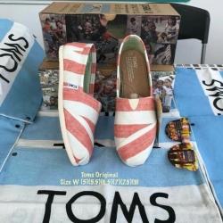 รองเท้า Toms ลายทางขาวส้มพื้นนิ่มใส่สบาย