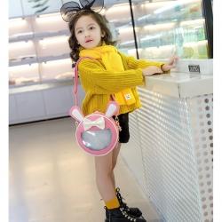 กระเป๋าแฟชั่น สำหรับเด็ก สีชมพู ติดโบว์ และหูกระต่าย