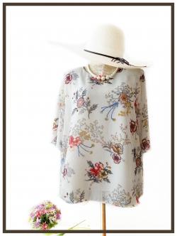 เสื้อชีฟอง Size 44 สีขาวลายดอก