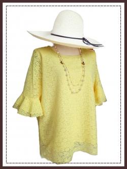 เสื้อลูกไม้สีเหลือง size 50