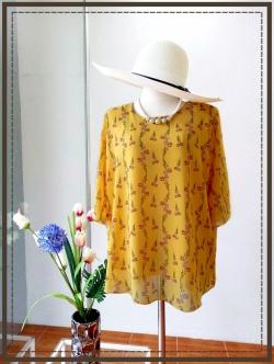 เสื้อชีฟองสีเหลืองลายดอกเล็ก size 46