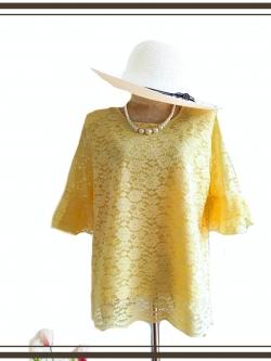 เสื้อลูกไม้โปร่งสีเหลือง size 42