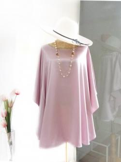 เสื้อทรงค้างคาวชายโค้ง ผ้าเครป Free Size สีชมพูอมม่วง