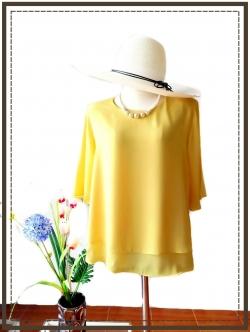 เสื้อชีฟองสีเหลือง 2 ชั้น size 46