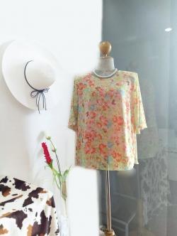 เสื้อชีฟอง Size 44 ลายดอกส้ม
