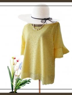 เสื้อลูกไม้สีเหลือง size 48