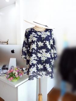 เสื้อชีฟอง Size 50 สีกรมท่าลายดอก