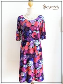 A Line Dress ชุดกระโปรงทรงเอ คอวีมน Size 44