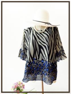 เสื้อชีฟอง Size 44 ลายเสือเชิงน้ำเงิน