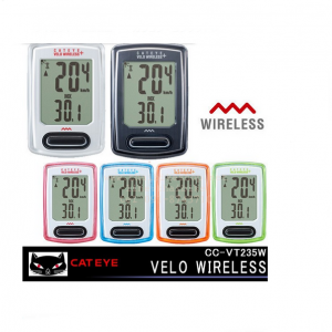 CAT EYE ไมล์ไร้สาย VELO WIRELESS, CC-VT235W, สีดำ, สีขาว ,สีชมพู, สีส้ม, สีฟ้า, สีเขียว (มีโหมด Back Light)