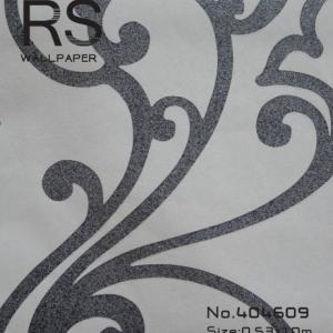 วอลเปเปอร์ลายหลุยส์สีดำมีกิตเตอร์พื้นสีขาว รหัส: 404609