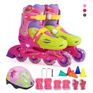 Roller Skate สีชมพู พร้อมอุปกรณ์ Safety ครบชุด
