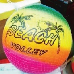บอลชายหาดสีสะท้อน 24 ซม.+ถุงตาข่าย