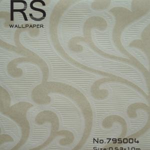 วอลเปเปอร์ลายหลุยส์สีครีมเข้มมีกิตเตอร์พื้นมีเส้นขีดสีขาว รหัส: 795004
