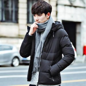 พร้อมส่ง เสื้อโค้ทผู้ชาย สีดำ มีฮู้ด2ชั้น บุนวมหนา ใส่กันหนาว ใส่ลุยหิมะ