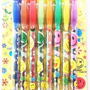 ปากกาเจลกากเพชร 8 แท่งแผงหน้ายิ้ม 21 ซม.
