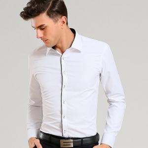 พร้อมส่ง เสื้อเซิ้ต สีขาว แขนยาว แต่งกระดุมและขลิปสีดำ เสื้อเซิ้ตผู้ชายใส่ทำงาน